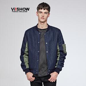 VIISHOW夹克秋季新款男士外套韩版潮青年棒球服男牛仔jacket