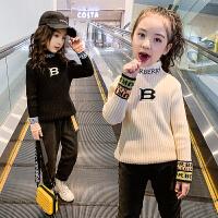 女童加绒毛衣秋冬装儿童高领打底衫