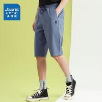 真维斯男装休闲短裤 2021春夏新款 男士弹力松紧腰直筒及膝短裤男