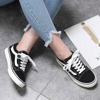 ins黑色帆布鞋女学生韩版运动鞋子女原宿ulzzang超火港风街拍板鞋