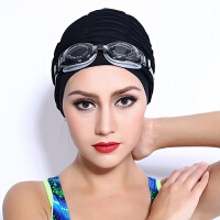 泳帽女布料双层长头发加大不勒头游泳帽子时尚褶皱红/蓝/布帽
