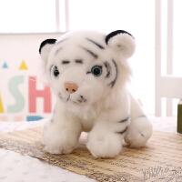 动物模型家居摆件儿童礼物仿真小老虎公仔毛绒玩具白虎玩偶布娃娃