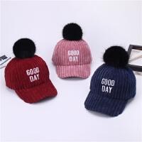 新品秋冬儿童帽子时尚毛球女童棒球帽灯芯绒保暖鸭舌帽男童宝宝帽