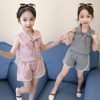 女童套装2019新款休闲夏装时髦潮衣短袖儿童装时尚格子两件套