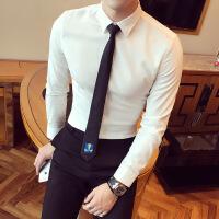 2018春夏季男士纯白色商务休闲长袖衬衫青年韩版修身西装衬衣