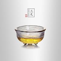 当当优品 锤目纹品茗杯-三足 光阴系列 描金加厚玻璃茶杯 功夫茶具 50ml