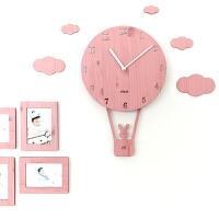 摇摆创意卡通挂钟客厅简约个性钟表儿童卧室静音家用时钟 粉红色 赠送相框 12英寸