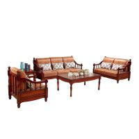美式乡村实木沙发客厅布艺木沙发组合美式家具储物沙发123组合 富贵红 1+2+3+长几+方几