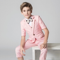 儿童演出服花童礼服春 儿童礼服男夏男童西装套装走秀马甲韩版男孩