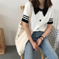 韩版女装修身polo领T恤上衣学生套头学院风针织衫打底衫 均码