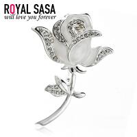 皇家莎莎Royalsasa韩版时尚流行款合金镶钻胸针胸花 美钻玫瑰