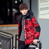 迷彩羽绒服男韩版冬季青少年个性潮流短款加厚修身连帽学生外套男