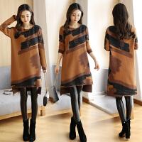 毛衣裙针织连衣裙秋冬装打底衫新款女中长款前短后长宽松显瘦长袖