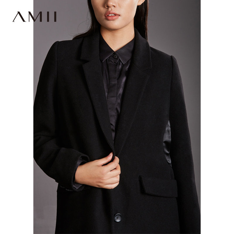 【大牌清仓 5折起】Amii[极简主义]时尚羊毛毛呢外套女2017冬季新收腰拼接立体大衣