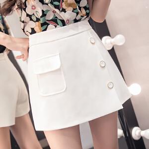 AGECENTRE 2019春装新款 春季春夏新款纯色高腰裙裤不对称阔腿裤短裤半身裙裤女