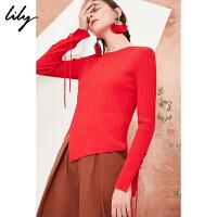 【25折到手价:87.25元】 Lily春新款女装纯色不规则针织衫袖口绑带针织衫118120B8305