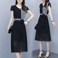 大码连衣裙女夏季2021年新款收腰显瘦气质轻熟风黑色雪纺夏天裙子