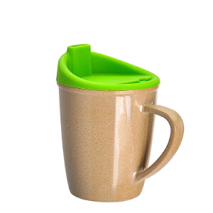 当当优品 壳氏唯稻壳环保婴幼儿童水杯带手柄宝宝学饮杯创意可爱鸭嘴杯防烫(草绿)