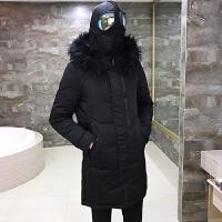 冬季新款男装外套情侣眼镜羽绒服男中长款连帽修身韩版加厚潮