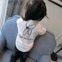 女童衬衫2018春装新款韩版中小童翻领爱心字母可爱印花长袖衬衣