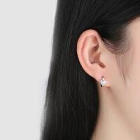 蝴蝶耳钉S925银韩版个性耳环耳扣水晶水钻耳圈情人节礼物送女友 蝴蝶耳环