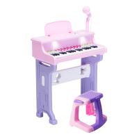 儿童钢琴玩具女孩电子琴初学1-2-3-6周岁生日礼物女童小孩女宝宝 粉:灯光版送话筒+卡通琴贴 送防扰耳机