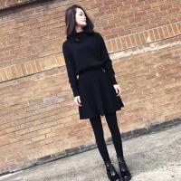 连衣裙2018秋冬女毛衣女新品毛衣配裙子有女人味的两件套装裙打底黑色针织连衣裙女秋冬季 黑色毛衣+裙子