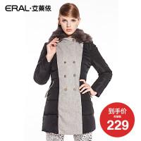 ERAL/艾莱依冬季双排扣拼接长袖修身英伦羽绒服女大衣6043C
