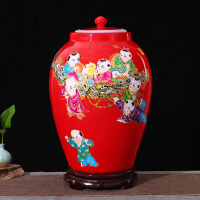 陶瓷带盖米缸米桶储米箱罐15kg20斤30斤56斤密封酒坛油水缸红童子 56斤装 送底座 密封圈