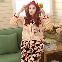 冬季珊瑚绒夹棉睡衣女士连帽三层加厚保暖法兰绒中长款家居服套装 69915
