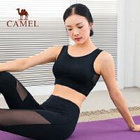 camel骆驼运动内衣女防震跑步聚拢背心式网纱拼接定型瑜伽健身bra文胸