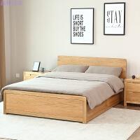 全实木高箱床橡木环保家具箱体储物床卧室双人床 1.8米床 床头柜-原木色 箱框结构