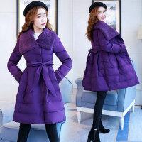 2018冬装新款大码女装冬季中长款羊羔毛领保暖棉衣外套 929