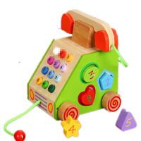 20180802182545479拖拉学步玩具拉车婴儿幼儿拖拉车儿童手拉绳拉线玩具车拉绳玩具车