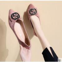 鞋子女百搭潮款新款金属扣通勤浅口尖头低跟单鞋女学生平底鞋