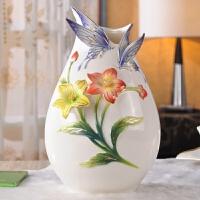 陶瓷花瓶装饰品摆件比翼双飞陶瓷摆件家居摆设工艺品送闺蜜新婚礼物创意