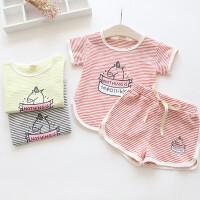女童夏季运动套装中小童卡通婴儿套装条纹短袖T恤+时尚短裤套