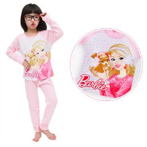 芭比儿童棉内衣套装女童宝宝内衣套装家居服加绒加厚款棉秋衣