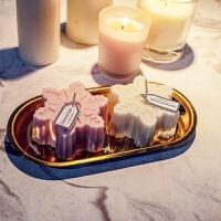 手工精油蜡烛圣诞雪花香烛台香薰蜡烛礼盒香氛蜡烛婚礼伴手礼