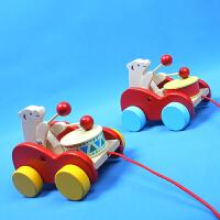 拖拉学步木质玩具制作小孩拉车儿童小拖车宝宝拉线玩具小熊敲鼓车