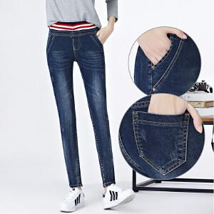 中学生修身显瘦牛仔裤女长裤大码松紧腰初中生青少年少女裤