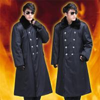 军大衣棉大衣男女冬季长款加厚防水黑大衣可拆洗反光条防寒服 黑色大衣