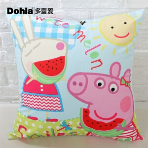 多喜爱家纺小猪佩奇系列床品含芯抱枕50*50cm舒适靠枕阳光小猪