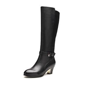 富贵鸟女靴 新品 新潮英伦真皮骑士靴 尖头中跟长筒靴