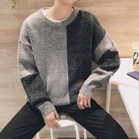男装毛衣撞色拼接不对称宽松版落肩袖针织衫小清新毛线衣