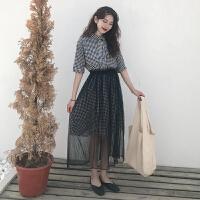 韩版时尚休闲套装夏装中长款格子连衣裙长裙+网纱半身裙两件套女