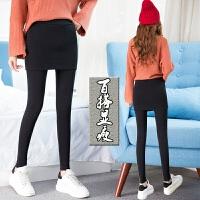打底裤裙女秋冬假两件加绒加厚连裤外穿大码加长包臀裙带裙长裤子