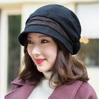 贝雷帽女秋冬季韩版日系百搭英伦画家帽时尚休闲复古八角帽女冬帽