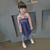春季新款童装拼接裙子女童长袖连衣裙儿童卡通公主裙中大童韩