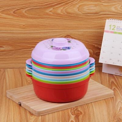 大号圆形饭盒塑料微波炉保鲜碗带盖学生泡面碗餐盒便当盒饭盒 颜色随机